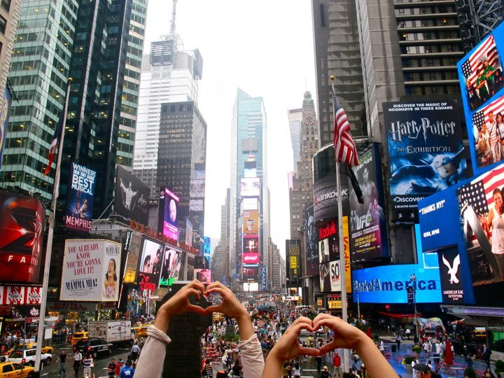 city, heart, love, new york, time square
