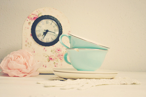 clock, cup, cute, fashion, flower, heart, love, lovely, photography, pink, pretty, rose, time, vintage