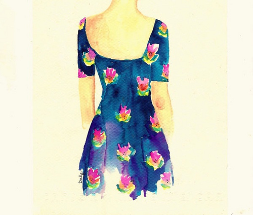 clothes, cool, draw, dress, flowers