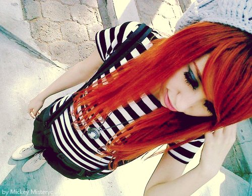 clothes, girl, hair, pretty, red hair, scene