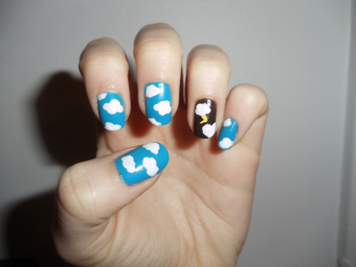 clouds, cute, darcy breen, darcybreen, lightening, lightening bolt, nail art, nails, storm, stormy, thunder