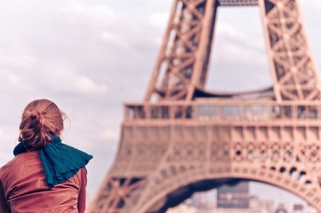 Clouds eiffel tower fashion girl paris sky travel view