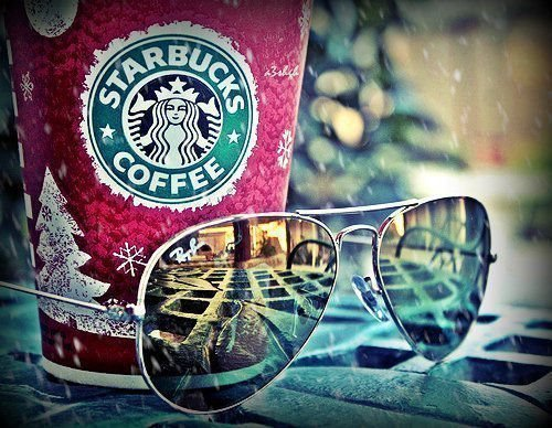 coffee, cup, starbucks, sunglasses, winter