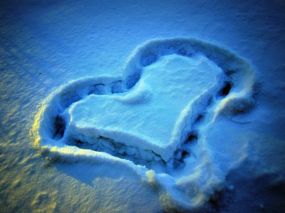 cold, heart, heart in the snow, heart made from snow, hearts