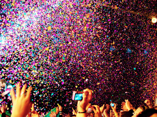 colorful, confetti, hands, party, people