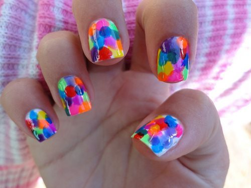 colorful, cool, glow, nail polish, nails