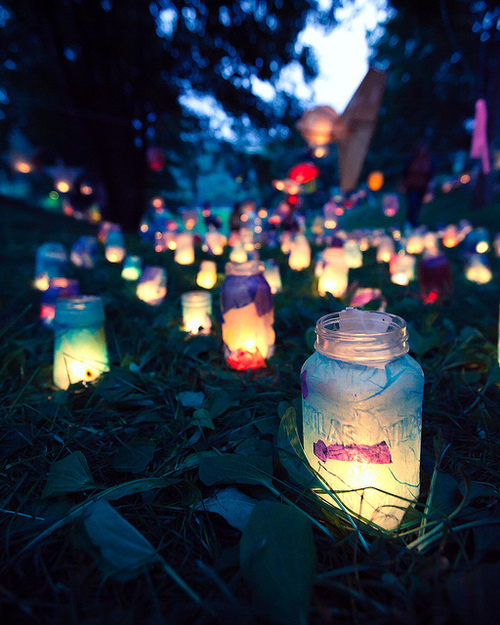 colorful, cute, grass, lamps, ligth