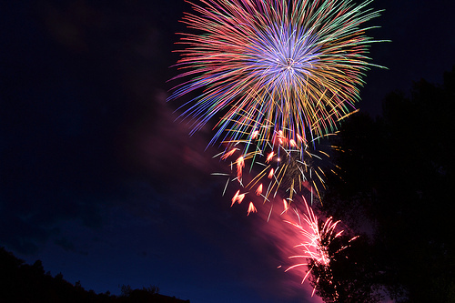colorful, fireworks, night, photography, rainbow
