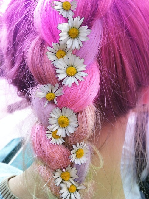 colorful hair, cool, flowers, girl, hair