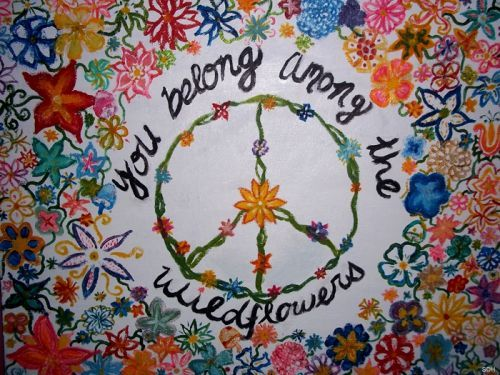 colors, flowers, happy, inspiration, peace, peace sign, sweet, vintage
