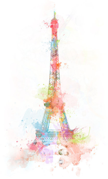 colours, cute, drawing, eiffel tower, france, painting, paris