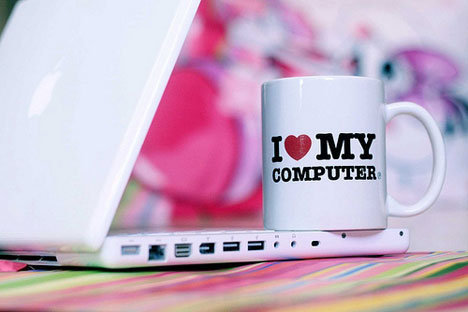 computer, cup, heart, love, notebook