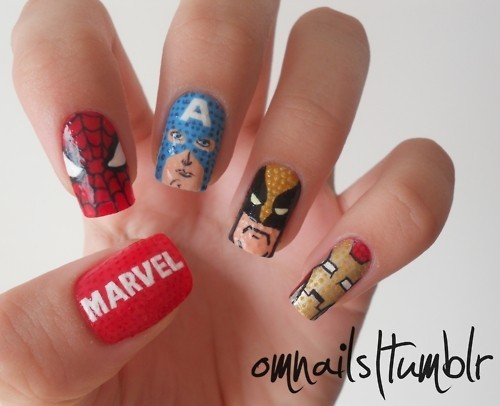 cool, cute, marval, nails, pretty