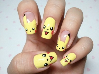 cool nails, nail polish, nails, pikachu, pokemon