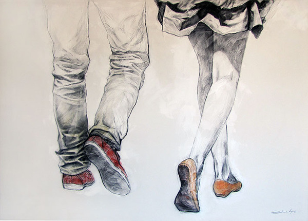 couple, illustration, love, walking
