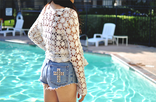 crochet, cross, denim, fashion, lace, photography, pool, shorts, studs, style, summer