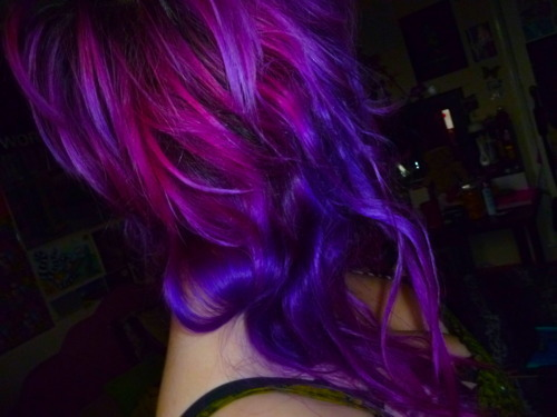 curly, hair, purple