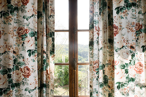 curtain, flowers, indie, photography, vintage