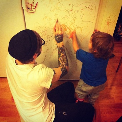 cute, drawing, son, tattooed father