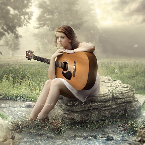 cute, dream, elf, forest, girl, gitar, love, sweet