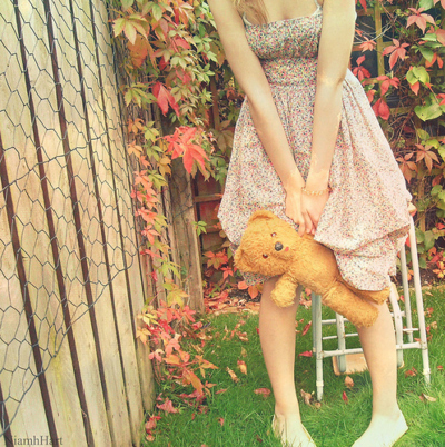 cute, dress, floral, flowers, girly, spring, teddy bear