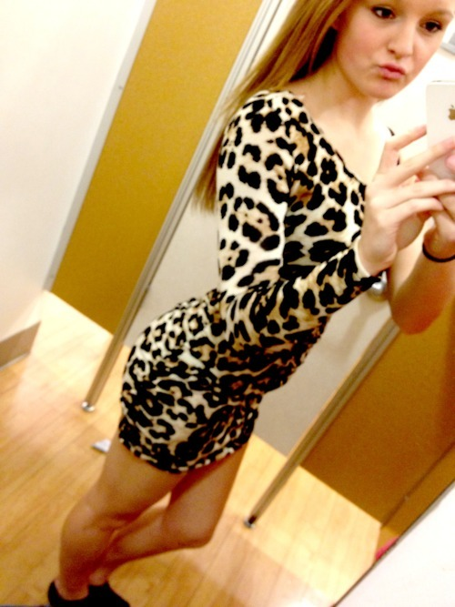 cute, dress, girly, leopard, vintage