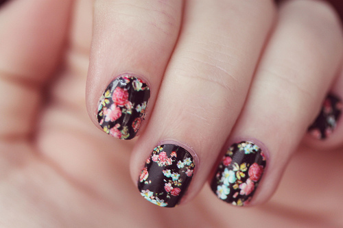 cute, fashion, floral, funny, nails, unhas, vintage
