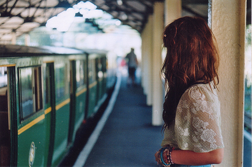 cute, fashion, girl, lovely, photography, pretty, train, train station, vintage