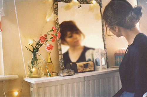 cute, flowers, girl, hair, mirror, photography, pretty, vintage
