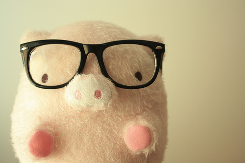 cute, funny, glasses, pig, pink