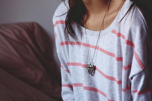cute, girl, necklace, owl