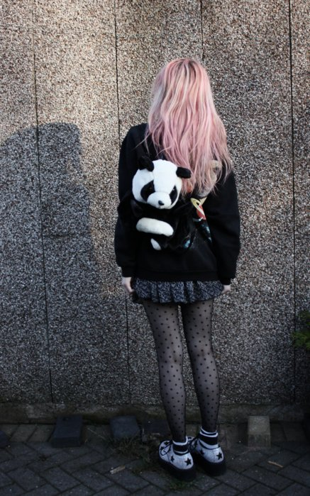 cute, girl, panda, panda bag, patterned tights, pink hair