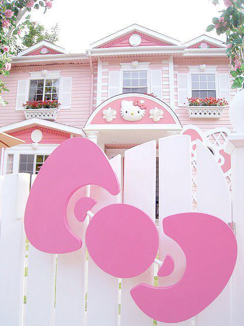 cute, hello kitty, home, mansion, pink
