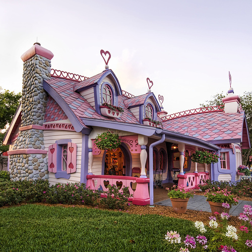 cute, house, pink