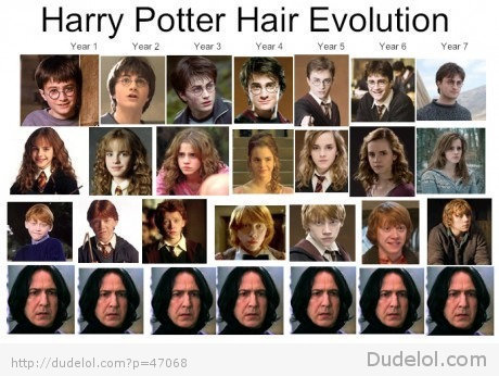 daniel radcliffe, emma watson, evolution, funny, hair evolution, harry potter, hermione granger, ron weasley, severus snape, true story