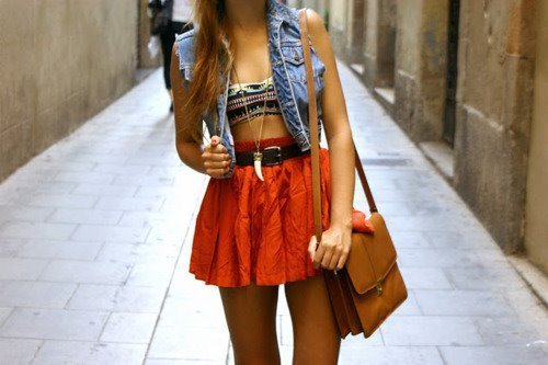 denim, fashion, girl, love, orange skirt, pretty, tribal