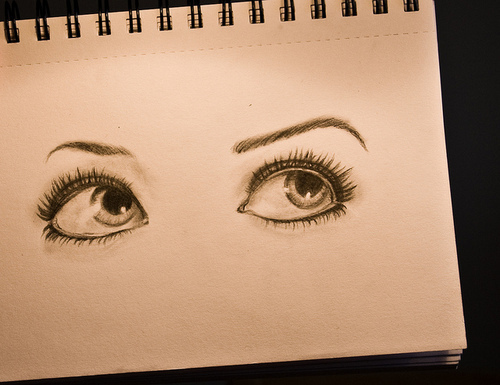 drawing, eye, eyelashes, eyeliner, make up, paper