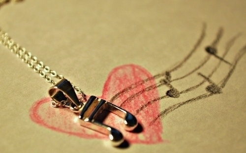 drawing, heart, music, necklace, note