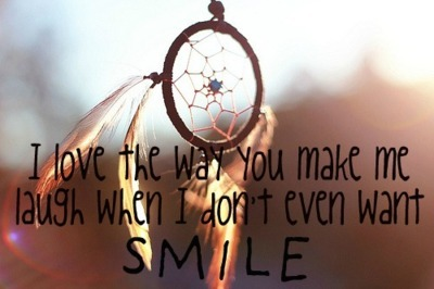 dream catcher, dreams, laugh, love, quote, smile, want, you