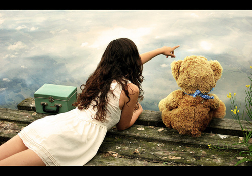 dress, girl, hair, photography, teddy bear