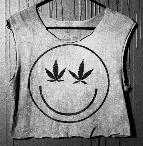 drugs, fashion, muscle, shirt, shirts, smiley face, smoke, tank, weed