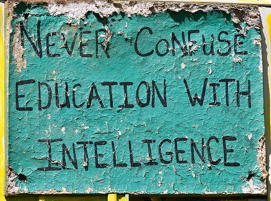 education, intelligence, text, true