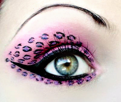 eye, leopard pint, make up, pink