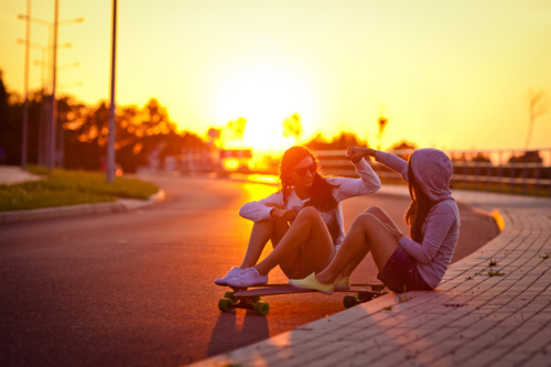fashion, friends, girls, hair, skate, sunset