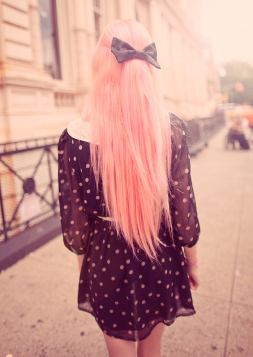 fashion, girl, hair, pink, ribbon