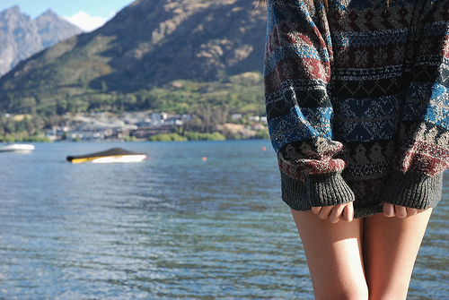 fashion, girl, lake, sweater, water