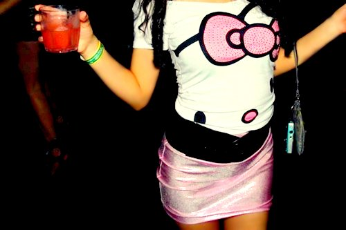 fashion, hello kitty, outfit, party, shirt, skirt