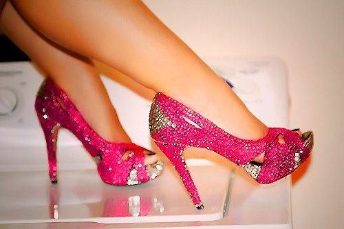 fashion high heels photography pink shoes image