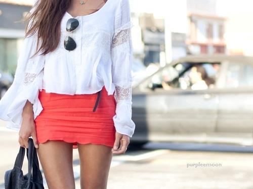 fashion, orange skirt, pretty, slim