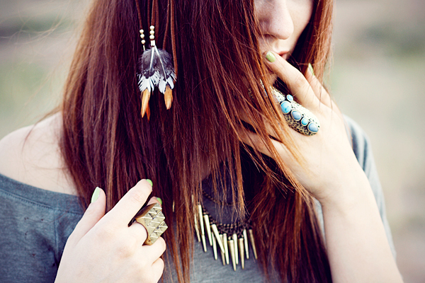 feather, girl, hair, jewelry, model